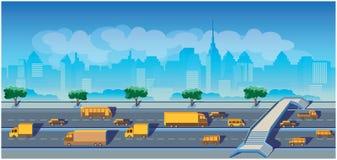 高速公路在一个大城市 库存例证