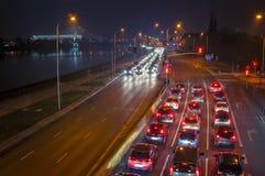 高速公路在晚上。 库存照片