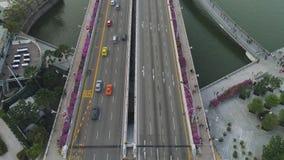 高速公路在晴朗的夏日和小径的空中顶视图有紫色花灌木的 射击 在看法汽车通行上 股票录像