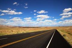 高速公路在沙漠 免版税库存照片