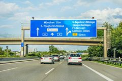 高速公路在高速公路A8,斯图加特/慕尼黑/乌尔姆的路标 免版税库存照片
