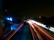 高速公路夜试验 库存照片