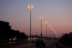 高速公路夜 库存图片