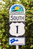 高速公路标志No1佛罗里达钥匙 库存照片