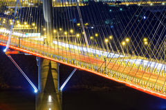 高速公路桥梁在与轻的交通踪影的晚上  免版税库存照片