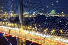 高速公路桥梁在与轻的交通踪影的晚上  免版税库存图片