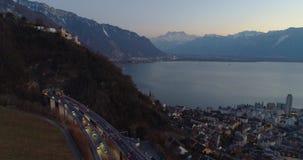 高速公路桥梁在蒙特勒瑞士 股票视频