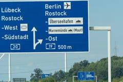 高速公路签到德国 库存照片