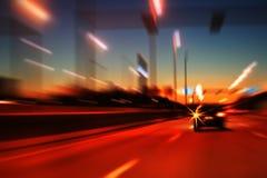 高速公路行动晚上 免版税库存照片