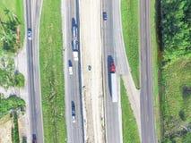 高速公路跨境10个I10天桥的空中建筑 库存照片
