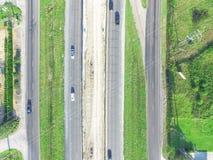 高速公路跨境10个I10天桥的空中建筑 免版税库存照片