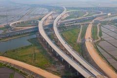 高速公路连接点,空中 免版税库存图片