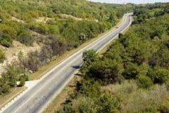 高速公路通过森林 免版税库存照片