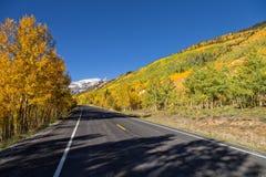 高速公路通过秋天风景 库存图片