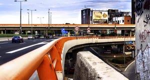 高速公路都市风景 库存照片