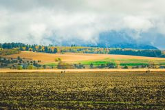高速公路风景在美国西部 库存图片