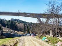 高速公路高架桥建设中在波兰 图库摄影