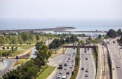 高速公路鸟瞰图向萨姆松 免版税图库摄影