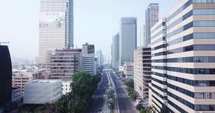 高速公路鸟瞰图有雅加达都市风景的 影视素材