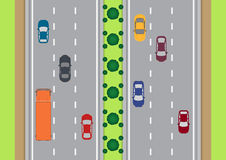 高速公路从上面的交通视图 免版税库存照片