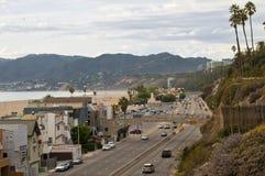 高速公路1交通圣塔蒙尼卡, LA 库存图片