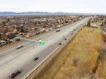 高速公路36在威斯敏斯特科罗拉多 免版税库存照片