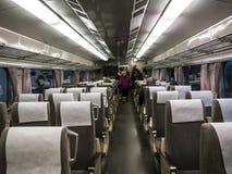 高速火车的内部在全国交通博物馆的在约克,约克夏英国 免版税图库摄影