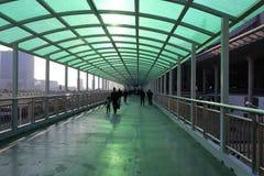 高速火车驻地被遮盖的桥  图库摄影