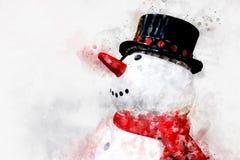 兴高采烈的雪人数字式绘画,水彩样式 图库摄影