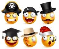 兴高采烈的面孔传染媒介套滑稽的无牙的海盗,魔术师,毕业生 向量例证