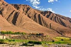 高阿特拉斯山脉,摩洛哥风景视图  库存图片