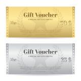 高雅在金子和银颜色的礼券或礼品券 库存图片