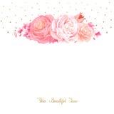 高雅开花颜色玫瑰和郁金香花束  与开花花的构成 库存例证