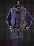 高雅男性衣服假佩带在方格的背景 图库摄影