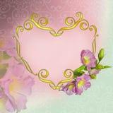 高雅花卉框架以心脏-情人节backgrou的形式 库存照片