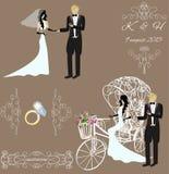 高雅葡萄酒新娘和新郎 免版税库存照片