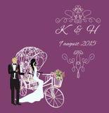 高雅葡萄酒新娘和新郎 免版税库存图片
