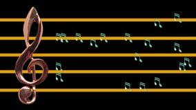 高音谱号和音符移动 库存例证