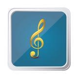高音谱号按钮以与背景蓝色的黄色 库存图片