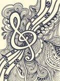 高音谱号注意与禅宗缠结装饰品黑色的音乐诗节在白色 免版税库存图片