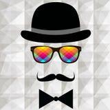 高顶丝质礼帽和髭葡萄酒剪影  免版税图库摄影