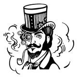 高顶丝质礼帽和玻璃的Steampunk人 库存图片