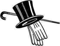 高顶丝质礼帽手套和藤茎 皇族释放例证