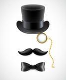 高顶丝质礼帽,髭,单片眼镜葡萄酒剪影  库存图片