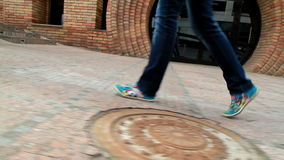 高,腿长的女孩审阅城市3 库存照片