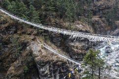 高索桥在喜马拉雅山 免版税库存照片
