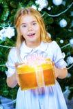 高兴的圣诞节女孩 库存照片