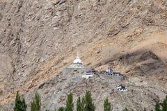高Shanti Stupa在Leh,拉达克,印度 免版税图库摄影