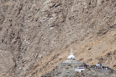 高Shanti Stupa在Leh,拉达克,印度 库存图片