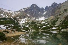 高Tatras - Lomnicky峰顶和Kezmarsky从Skalnate ple锐化 免版税库存照片